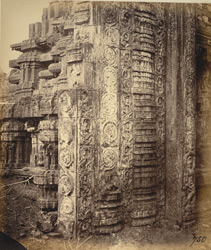 Close view of carved work at base of gopura, Narasimha Temple, Ahobilam